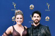 Mia Swier (L) and Darren Criss attend the 70th Emmy Awards at Microsoft Theater on September 17, 2018 in Los Angeles, California.