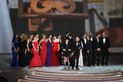 Amy Sherman-Palladino (front center L) and Daniel Palladino (front center R) and cast and crew accept the Outstanding Comedy Series award for 'The Marvelous Mrs. Maisel' onstage during the 70th Emmy Awards at Microsoft Theater on September 17, 2018 in Los Angeles, California.