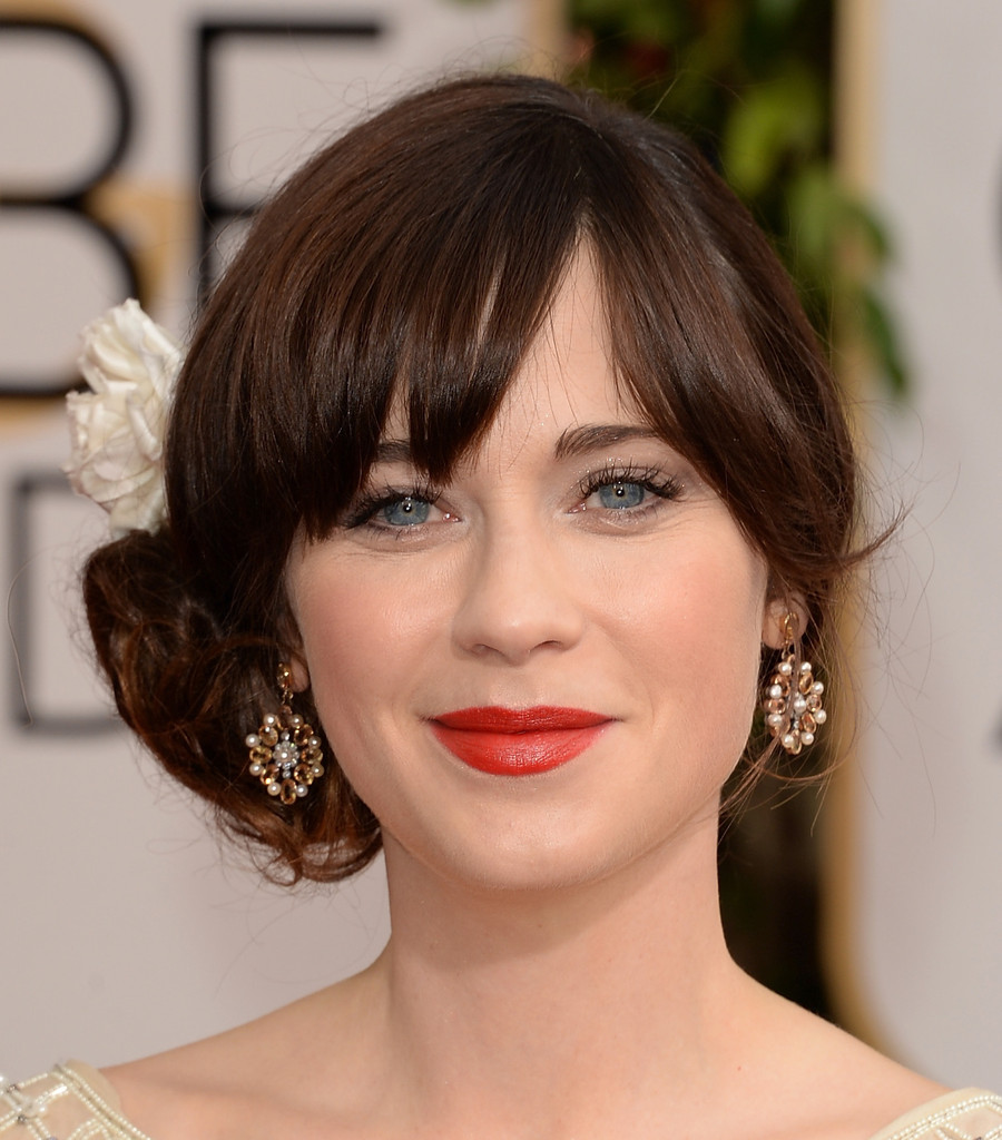 www haircuts pictures zooey deschanel photos 71st annual golden globe awards 6256