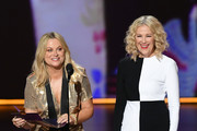 (L-R) Amy Poehler and Catherine O'Hara speak onstage during the 71st Emmy Awards at Microsoft Theater on September 22, 2019 in Los Angeles, California.
