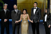 (L-R) Gary Cole, Tony Hale, Julia Louis-Dreyfus, Timothy Simons, and Clea DuVall speak onstage during the 71st Emmy Awards at Microsoft Theater on September 22, 2019 in Los Angeles, California.