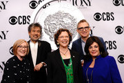 (L-R) American Theatre Wing President and CEO Heather Hitchens, The Broadway League Chairman Thomas Schumacher, Annette Bening, William Ivey Long, and The Broadway League President and CEO Charlotte St. Martin attend The 73rd Annual Tony Awards Meet The Nominees Press Day on May 01, 2019 in New York City.