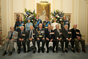 (top row L-R) Prince Richard, Duke of Gloucester, Princess Alexandra, Prince William, Duke of Cambridge, Prince Edward, Earl of Wessex, Sophie, Countess of Wessex, Prince Edward, Duke of Kent, (bottom row L-R) Wing Commander Terence Kane, Flying Officer Ken Wilkinson, Squadron Leader Tony Pickering, Chief of the Air Staff (CAS) Sir Andrew Pulford, Prince Philip, Duke of Edinburgh, Wing Commander Paul Farnes, Pilot Geofrey Wellum and Wing Commander Tom Neil pose for a group photo during a pre-lunch reception at the RAF Club to commemorate the 75th Anniversary Of The Battle Of Britain on July 10, 2015 in London, England.