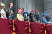 (L-R) Sophie, Countess of Wessex, Prince Edward, Count of Wessex, Prince William, The Duke of Cambridge, Queen Elizabeth II, Prince Philip, The Duke of Edinburgh and Prince Andrew, The Duke of York, Prince Edward, Duke of Kent, Prince Michael of Kent, Princess Alexandra and Prince Richard, Duke of Gloucester watch the fly past from the balcony of Buckingham Palace to commemorate 75th Anniversary Of The Battle Of Britain on July 10, 2015 in London, England.