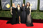 (L-R) Actors Reese Witherspoon, Eva Longoria, Salma Hayek, and Ashley Judd attend The 75th Annual Golden Globe Awards at The Beverly Hilton Hotel on January 7, 2018 in Beverly Hills, California.