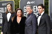 (L-R) Dylan Brosnan, Keely Shaye Smith, Pierce Brosnan, and Paris Brosnan attend the 77th Annual Golden Globe Awards at The Beverly Hilton Hotel on January 05, 2020 in Beverly Hills, California.