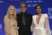 Presenters Dakota Fanning, Tim Allen, and Susan Kelechi Watson attend the 77th Annual Golden Globe Awards Nominations Announcement at The Beverly Hilton Hotel on December 09, 2019 in Beverly Hills, California.