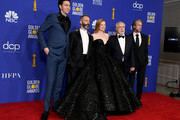 (L-R) Nicholas Braun, Jeremy Strong, Sarah Snook, Brian Cox, and Alan Ruck pose in the press room during the 77th Annual Golden Globe Awards at The Beverly Hilton Hotel on January 05, 2020 in Beverly Hills, California.
