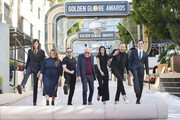 (L-R) Dylan Brosnan, Amy Thurlow, Ricky Gervais, Lorenzo Soria, guest, Barry Adelman and Paris Brosnan roll out the red carpet at the 77th Annual Golden Globe Awards Preview Day at The Beverly Hilton Hotel on January 03, 2020 in Beverly Hills, California.