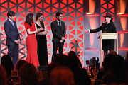 "(L-R) Producer Daniel Palladino, Actors Rachel Brosnahan, Marin Hinkle, Michael Zegen, and Writer and Producer Amy Sherman-Palladino accept the Entertainment Award on behalf of ""The Marvelous Mrs. Maisel"" on stage during The 77th Annual Peabody Awards Ceremony at Cipriani Wall Street on May 19, 2018 in New York City."