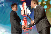 Peter Czernin (L) accepts the AACTA International Award for Best Film for 'Three Billboards Outside Ebbing, Missouri' from Jai Courtney onstage at the 7th AACTA International Awards at Avalon Hollywood in Los Angeles on January 5, 2018 in Hollywood, California.