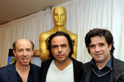 (L-R) Producer Jon Kilik, director Alejandro Inarritu and producer Fernando Bovaira pose at a press conference and photo op for the five nominated directors in the Foreign Language Film Award catagory for the 83rd Annual Academy Awards at the Kodak Theater on February 25, 2011 in Los Angeles, California.