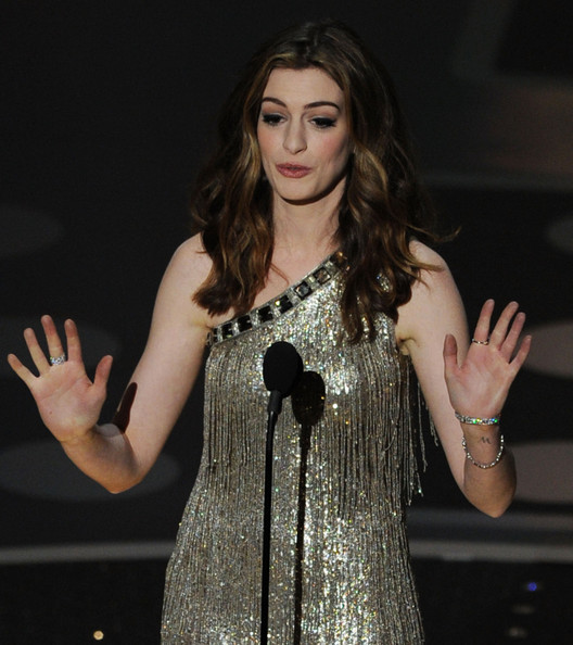 Host Anne Hathaway speaks onstage during the 83rd Annual Academy Awards held at the Kodak Theatre on February 27, 2011 in Hollywood, California.