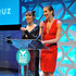 Alysia Reiner Jackie Cruz Photos - Presenters Jackie Cruz and Alysia Reiner speak onstage at The 8th Annual Shorty Awards at The Times Center on April 11, 2016 in New York City. - The 8th Annual Shorty Awards - Ceremony