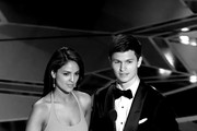 Image has been converted to black and white.) Actors Eiza Gonzalez (L) and Ansel Elgort speak onstage during the 90th Annual Academy Awards at the Dolby Theatre at Hollywood & Highland Center on March 4, 2018 in Hollywood, California.