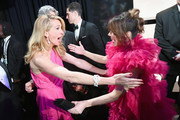 In this handout provided by A.M.P.A.S., After 'Green Book' was awarded Best Picture, presenter Julia Roberts poses with Linda Cardellini backstage during the 91st Annual Academy Awards at the Dolby Theatre on February 24, 2019 in Hollywood, California.