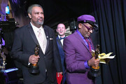 In this handout provided by A.M.P.A.S., Spike Lee, Kevin Willmott and Charlie Wachtel pose with the Adapted Screenplay award for 'BlacKkKlansman' backstage during the 91st Annual Academy Awards at the Dolby Theatre on February 24, 2019 in Hollywood, California.
