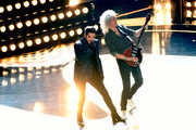 (L-R) Adam Lambert and Brian May of Queen perform onstage during  onstage during the 91st Annual Academy Awards at Dolby Theatre on February 24, 2019 in Hollywood, California.