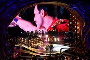 An image of the late Freddie Mercury is projected onto a screen while Adam Lambert + Queen perform onstage during the 91st Annual Academy Awards at Dolby Theatre on February 24, 2019 in Hollywood, California.