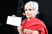 In this handout photo provided by A.M.P.A.S. Jane Fonda poses with the Best Picture envelope backstage during the 92nd Annual Academy Awards at the Dolby Theatre on February 09, 2020 in Hollywood, California.