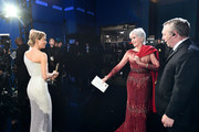 In this handout photo provided by A.M.P.A.S. Best Actress award winner Renée Zellweger and Jane Fonda stand backstage during the 92nd Annual Academy Awards at the Dolby Theatre on February 09, 2020 in Hollywood, California.