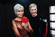 In this handout photo provided by A.M.P.A.S. Jane Fonda and Olivia Colman stand backstage during the 92nd Annual Academy Awards at the Dolby Theatre on February 09, 2020 in Hollywood, California.