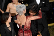 Jane Fonda (C) presents the Best Picture award for 'Parasite' to Kwak Sin-ae (L) and Bong Joon-ho onstage during the 92nd Annual Academy Awards at Dolby Theatre on February 09, 2020 in Hollywood, California.