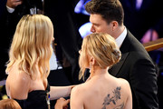(L-R) Margot Robbie,  Scarlett Johansson and Colin Jost attend the 92nd Annual Academy Awards at Dolby Theatre on February 09, 2020 in Hollywood, California.