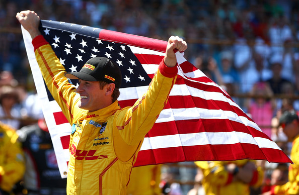 Ryan Hunter-Reay driver of the #28 DHL Andretti Autosport Chevrolet Dallara celebrates winning the 98th running of the Indianapolis 500 Mile Race on May 24, 2014 at the Indianapolis Motor Speedway in Indianapolis, Indiana.