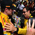 Helio Castroneves Ryan Hunter-Reay Photos - Ryan Hunter-Reay (left) driver of the #28 Andretti Autosport Dallara Honda hugs Helio Castroneves of Brazil driver of the #3 Team Penske Dallara Chevrolet after the 98th running of the Indianapolis 500 mile race at the Indianapolis Motor Speedway on May 25, 2014 in Indianapolis, Indiana. - 98th Indianapolis 500