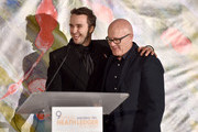 Actor Mojean Aria accepts the 2017 Heath Ledger Scholarship from Kim Ledger during the 9th Annual Australians In Film Heath Ledger Scholarship Dinner at Sunset Marquis Hotel on June 1, 2017 in West Hollywood, California.