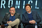 Writer and director Benjamin Ross (L) and actor Sean Bean (R) attend The Frankenstein Chronicles panel during the A+E Networks 2016 Television Critics Association Press Tour at The Langham Huntington Hotel and Spa on January 6, 2016 in Pasadena, California.
