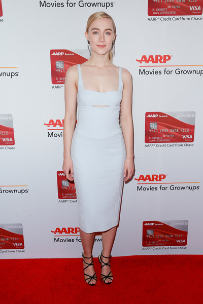 Saoirse Ronan went modern and minimalist in a slashed white midi dress by Narciso Rodriguez at the Movies for Grownups Awards.