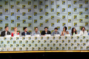 "(L-R) Actors Josh Dallas, Jennifer Morrison, Colin O'Donoghue, writer/producer Edward Kitsis, writer/producer Adam Horowitz, actors Jared Gilmore, Lana Parrilla, Emilie de Ravin and Robert Carlyle attend ABC's ""Once Upon A Time"" panel during Comic-Con International 2014 at San Diego Convention Center on July 26, 2014 in San Diego, California."