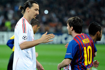 Lionel Messi Zlatan Ibrahimovic AC Milan v Barcelona - UEFA Champions League Quarter Final