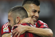 Jeremy Menez of AC Milan celebrates with his team-mate Stephan El Shaarawy after scoring his goal during the Serie A match between AC Milan and SS Lazio at Stadio Giuseppe Meazza on August 31, 2014 in Milan, Italy.