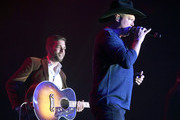 (L-R) Carlton Anderson and Tracy Lawrence perform onstage at ACM Lifting Lives®: Decades on April 06, 2019 in Las Vegas, Nevada.