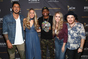 Justin Young, Colbie Caillat, Nelly Joy and Jason Reeves of the band Gone West pose in the press room during ACM Lifting Lives Presents: Borderline Strong Concert at Thousand Oaks Civic Arts Plaza on February 11, 2019 in Thousand Oaks, California.