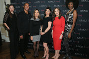 Jill Flint, Mike Woods, Ines Rosales, Tamsen Fadal, Teresa Priolo and Camilla Barungi pose for a photo at he ADAPT Santa Project Party Casino Night at the Down Town Association on December 03, 2019 in New York City.