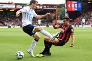Seamus Coleman of Everton is tackled by Charlie Daniels of AFC Bournemouth  during the Premier League match between AFC Bournemouth and Everton FC at Vitality Stadium on August 25, 2018 in Bournemouth, United Kingdom.