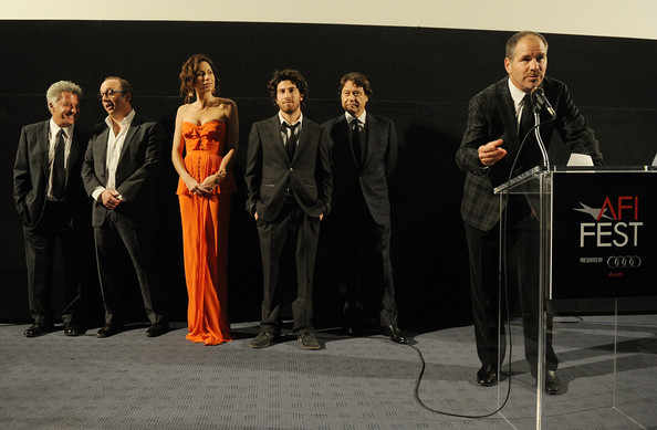 "(L-R) Actors Dustin Hoffman, Paul Giamatti, Minnie Driver, Jake Hoffman, Producer Robert Lantos, and Director Robert J. Lewis onstage at ""Barney's Version"" screening during AFI FEST 2010 presented by Audi held at Egyptian Theatre on November 6, 2010 in Hollywood, California."