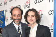 """Luca Guadagnino (L) and Timothee Chalamet attend the screening of """"Call Me By Your Name"""" at AFI FEST 2017 Presented By Audi at TCL Chinese Theatre on November 10, 2017 in Hollywood, California."""