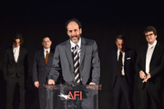 """(L-R) Timothee Chalamet, Michael Stuhlbarg, Luca Guadagnino, Marco Morabito and Rodrigo Teixeira are seen onstage at the screening of """"Call Me By Your Name"""" at AFI FEST 2017 Presented By Audi at TCL Chinese Theatre on November 10, 2017 in Hollywood, California."""