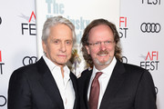 "Michael Douglas (L) and AFI President & CEO Bob Gazzale attend the Gala Screening of ""The Kominsky Method"" at AFI FEST 2018 Presented By Audi at TCL Chinese Theatre on November 10, 2018 in Hollywood, California."