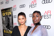 """(L-R) Zendaya and Jodie Turner-Smith attend AFI FEST 2019 Presented by Audi - Opening Night World Premiere Of """"Queen & Slim"""" on November 14, 2019 in Hollywood, California."""