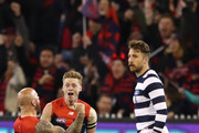 Nathan Jones of the Demons celebrates after kicking a goal with Charlie Spargo of the Demons   during the AFL First Elimination Final match between the Melbourne Demons and the Geelong Cats at the Melbourne Cricket Ground on September 7, 2018 in Melbourne, Australia.