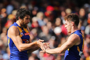 Josh Kennedy and Luke Shuey of the Eagles celebrates a goal by Kennedy during the round 19 AFL match between the Adelaide Crows and the West Coast Eagles at Adelaide Oval on August 2, 2014 in Adelaide, Australia.