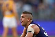 Stephen Hill of the Dockers looks on after the final siren during the Round 6 AFL match between the Fremantle Dockers and West Coast Eagles at Optus Stadium on April 29, 2018 in Perth, Australia.