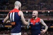 Max Gawn of the Demons (left) celebrates with Nathan Jones of the Demons during the 2018 AFL First Semi Final match between the Hawthorn Hawks and the Melbourne Demons at the Melbourne Cricket Ground on September 14, 2018 in Melbourne, Australia.