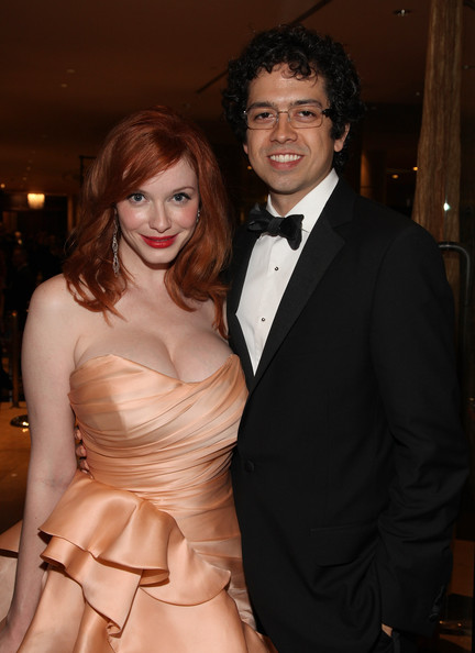 Christina Hendricks and Geoffrey Arend attend AMC's Golden Globes viewing